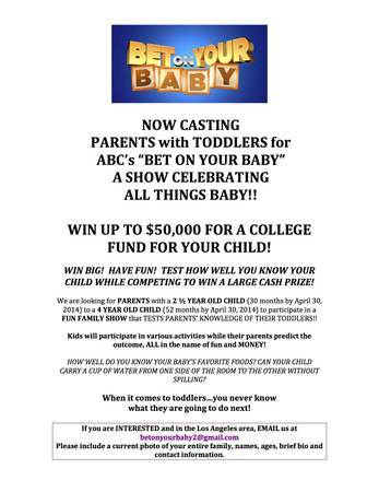 ABC casting flyer for Bet on Your Baby