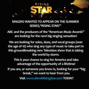Rising Star casting call flyer