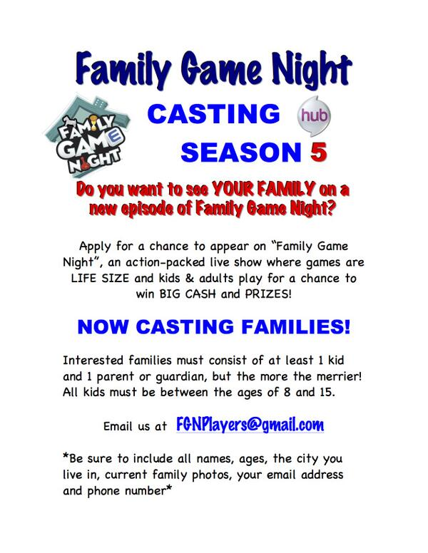 Family Game Night Casting for The Hub
