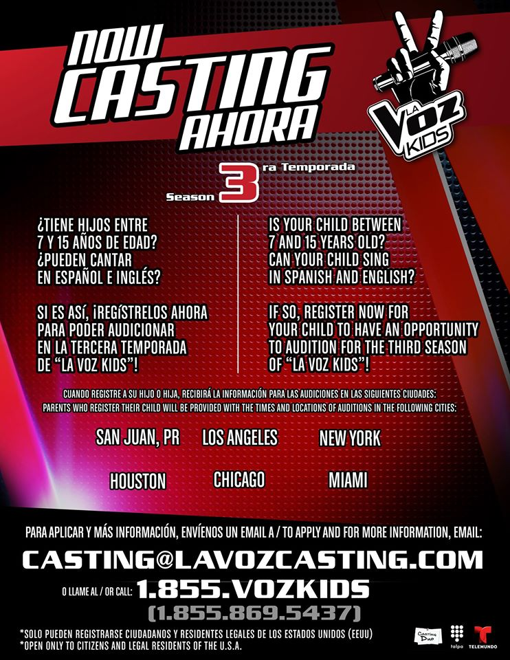 Auditions for La Voz Kids 2015
