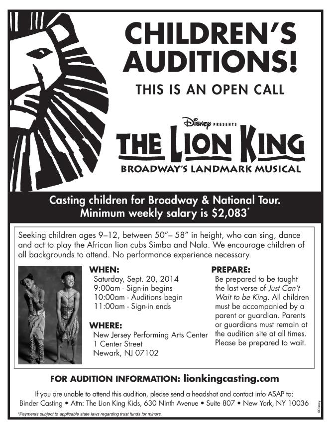 Casting call flyer for Disney