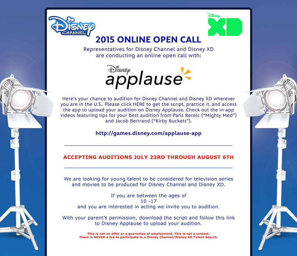 Disney Channel open casting call information